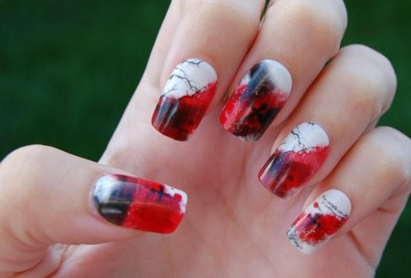 Unhas para Halloween vermelho com branco e preto