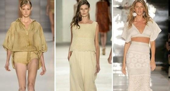 Modelos desfilam com roupas de tecido natural para mostrar tendência de looks do verão