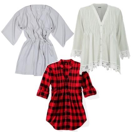 Batas e vestidos soltos entre as peças de roupa para disfarçar os defeitos