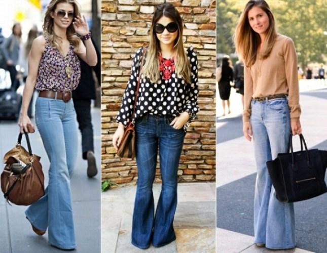 Mulheres usando calça flare