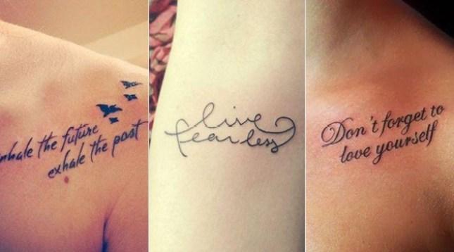Tatuagens femininas com frases