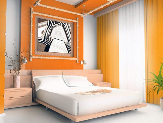 Decoração do quarto de casal com a cor laranja