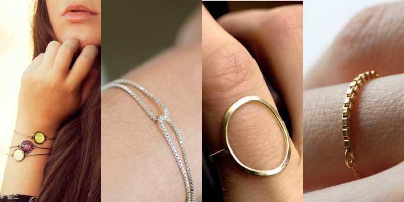 Modelos de Pulseiras e anéis minimalistas