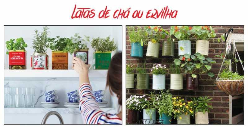 Latas de chá ou ervilha podem ser utilizadas para fazer uma linda horta caseira