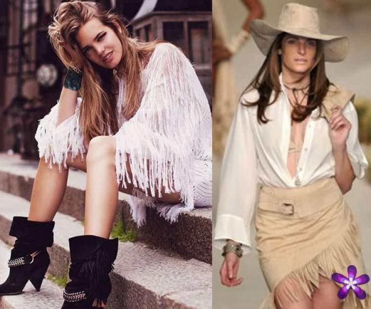 As franjas continuam com tudo, presença garantida tanto na moda hippie quanto na country