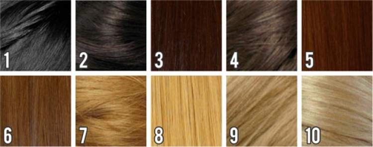 tabela de tons do cabelo