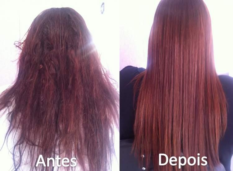 antes e depois de fazer hidratação no cabelo