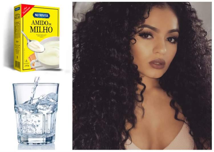 tratamento caseiro com água e amido de milho para cabelos cacheados e crespos