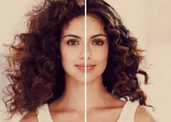 antes e depois de controlar o volume dos cabelos ondulados