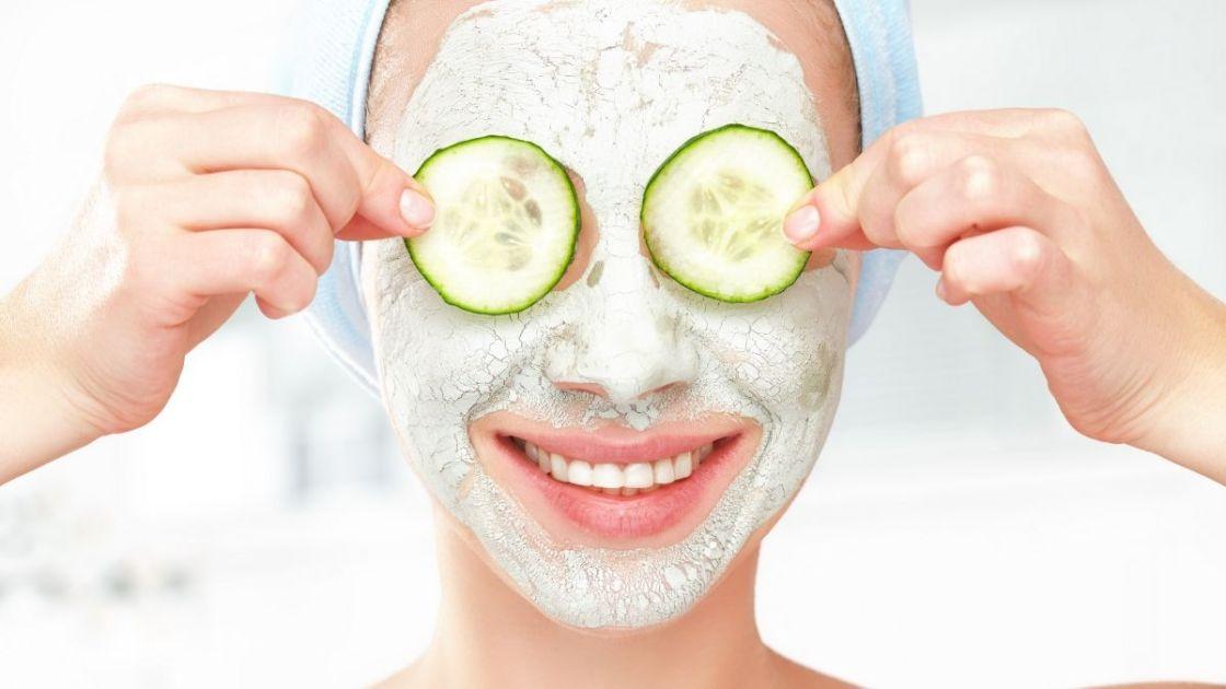 Máscara caseira facial de pepino