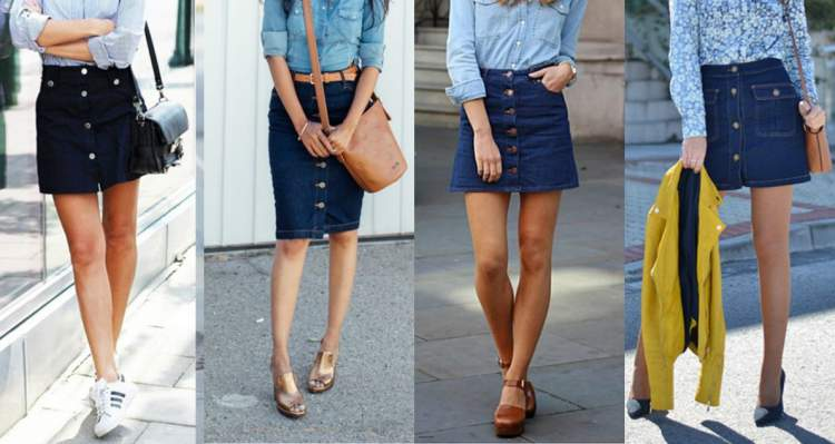 Combo saia de botão na frente + camisa jeans