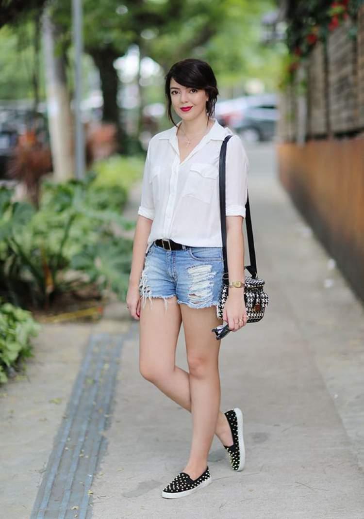 look com shortinho jeans básico