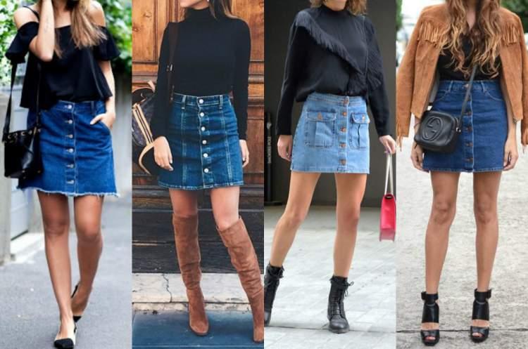 saia jeans com blusa preta