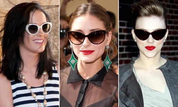 mulheres usando óculos de sol modelo gatinho