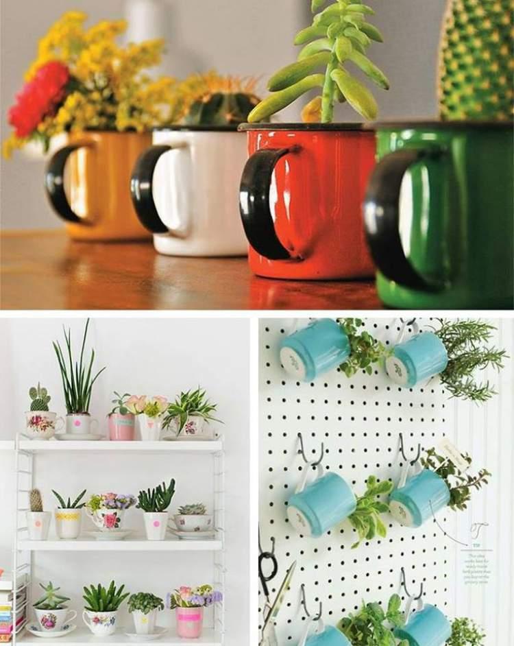 veja como usar canecas coloridas como vasos de plantas e flores
