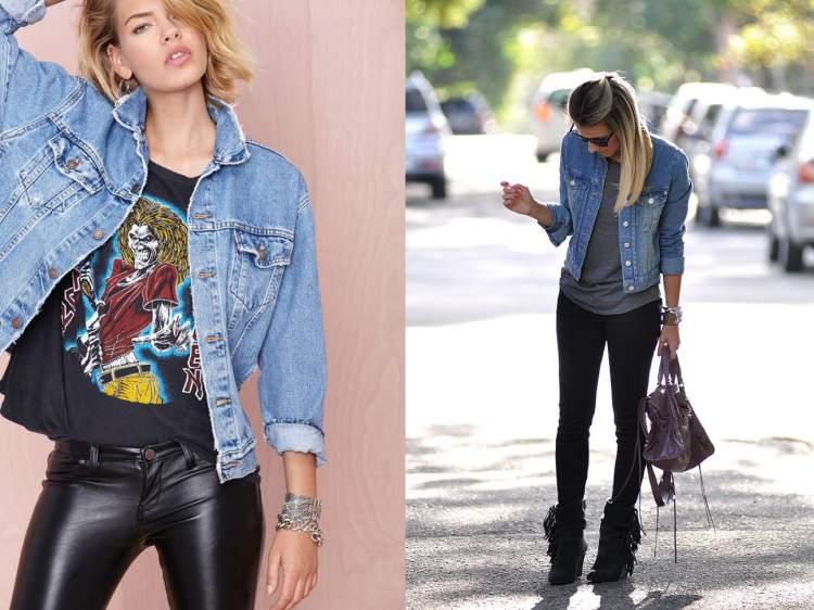 Camisa de banda com jaqueta jeans