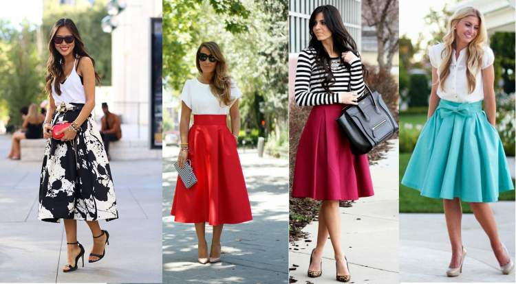 modelos de saia midi para mulheres baixinhas