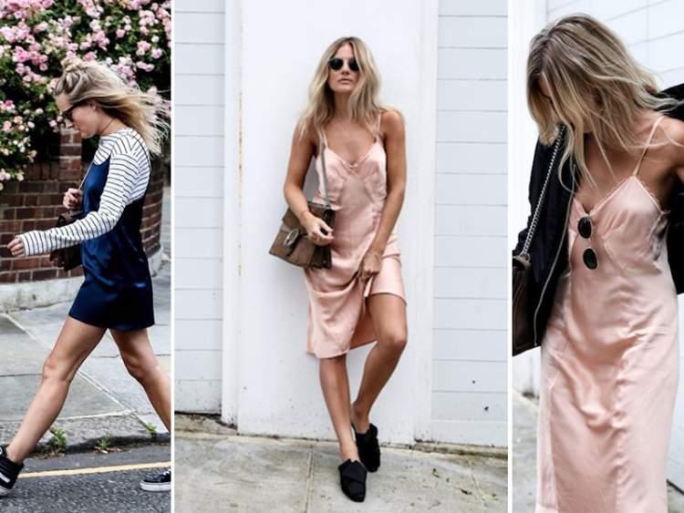 Slip dress é uma das fortes tendências da moda primavera verão 2017-2018