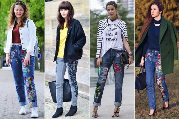 Veja como usar a calça jeans bordada
