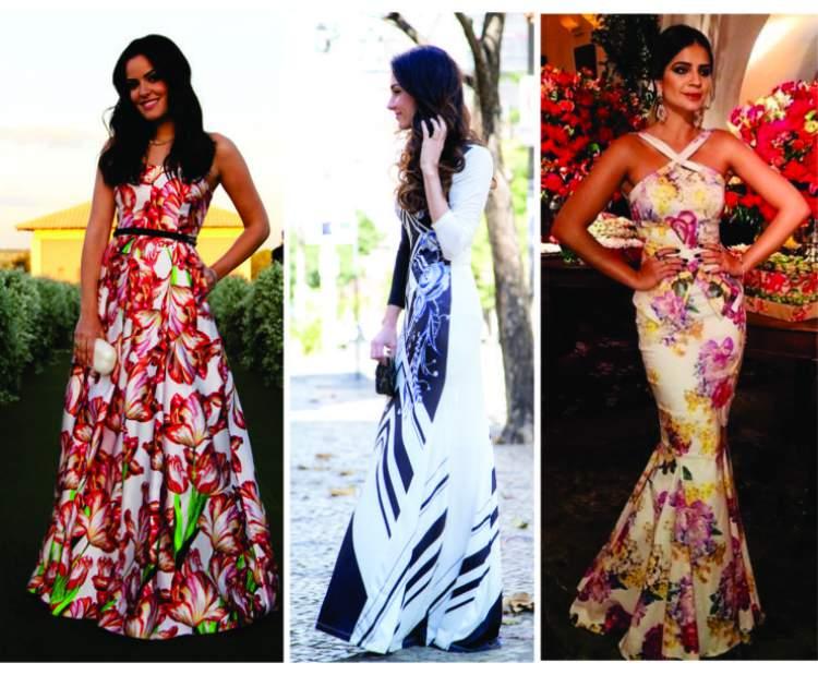 Vestidos longos e florais para usar em casamentos diurnos