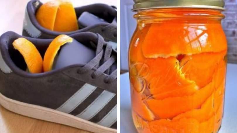 Cascas de laranjas secas para dar fim ao odor dos sapatos