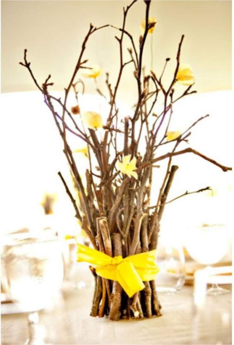 Galhos secos na decoração de casamento