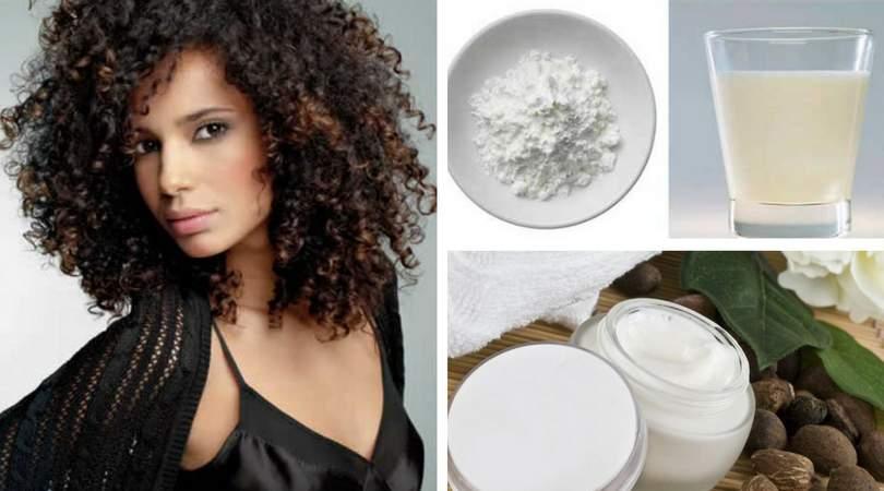 Receita caseira de maisena, leite e manteiga de Karité para cabelos crespos e cacheados