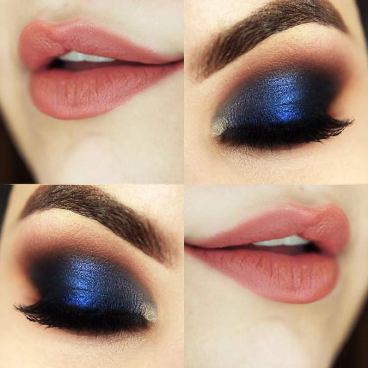 Maquiagem para quem tem olhos castanhos: Sombra azul metálica