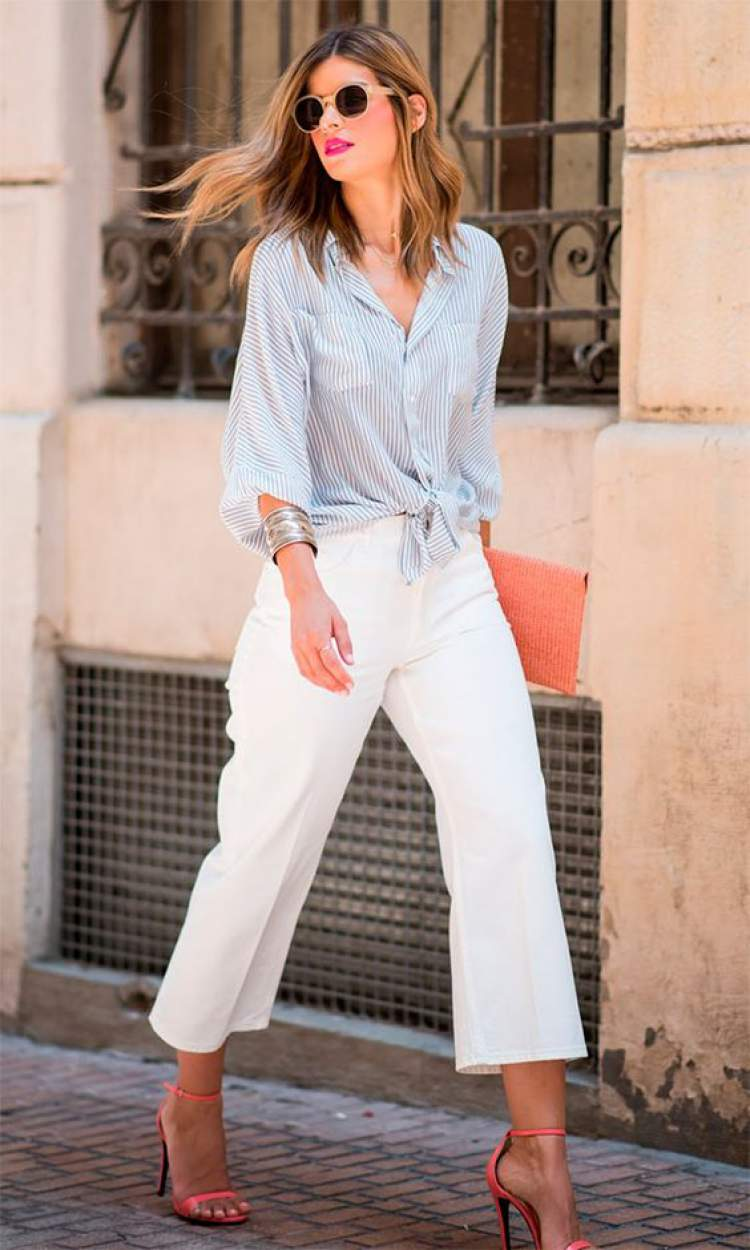 Look com calça pantacourt para trabalhar no verão