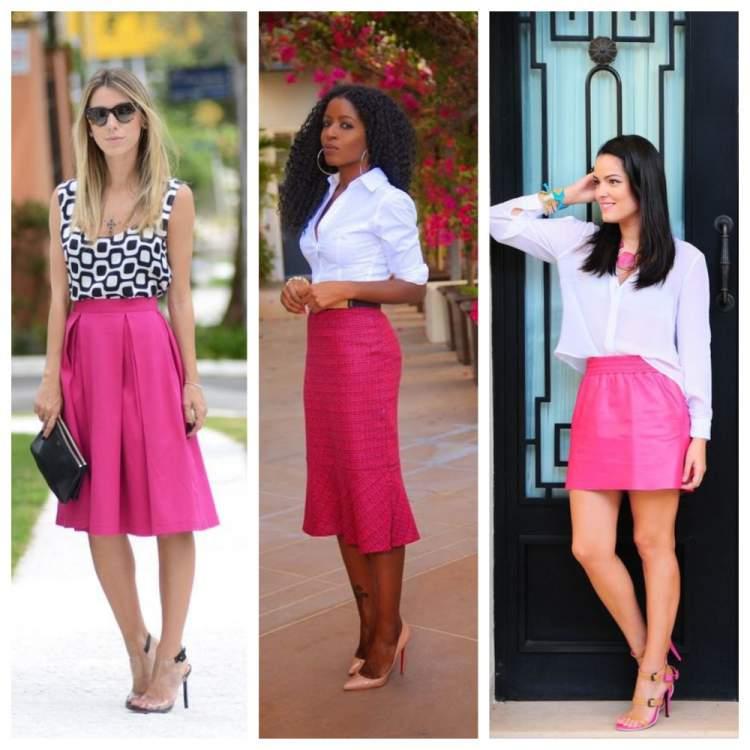 Saias na cor tendência do verão 2018: Pink Yarrow