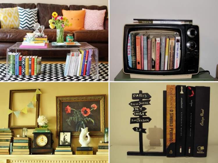 Livros ajudam a decorar o ambiente