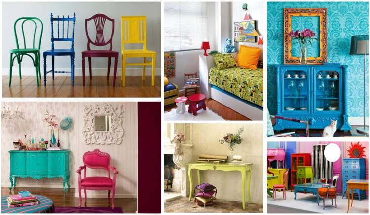 Móveis antigos com cores modernas para melhorar a casa