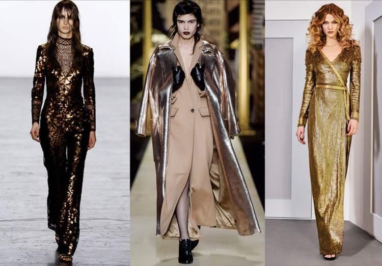 Look total metalizado é uma tendência da moda inverno 2018