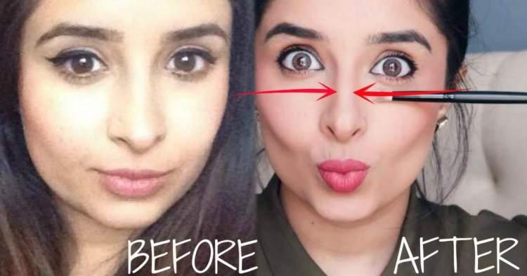 Truque de maquiagem para afinar o nariz