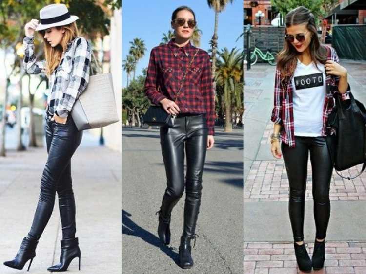 Camisa xadrez + calça de couro preta