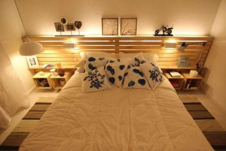Cabeceira da cama no estilo faça você mesmo