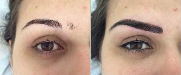 Foto para comparar o antes e depois de fazer a Micropigmentação de sobrancelha