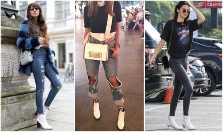 Looks com a bota branca e calça jeans