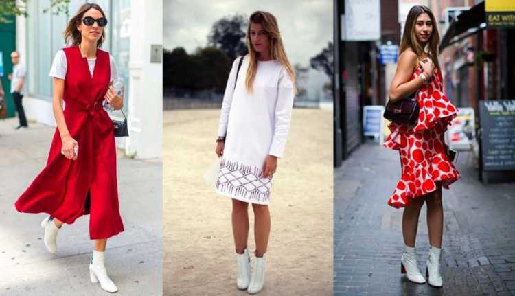 Looks com a bota branca e vestido