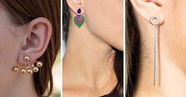 Brincos ear jacket é uma das tendências em semijoias no verão 2019
