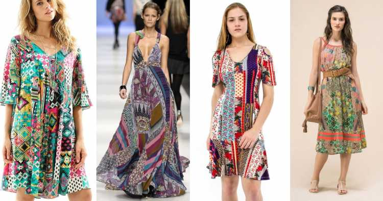 Estampa Patchwork é um dos modelos de vestidos para apostar no verão 2019