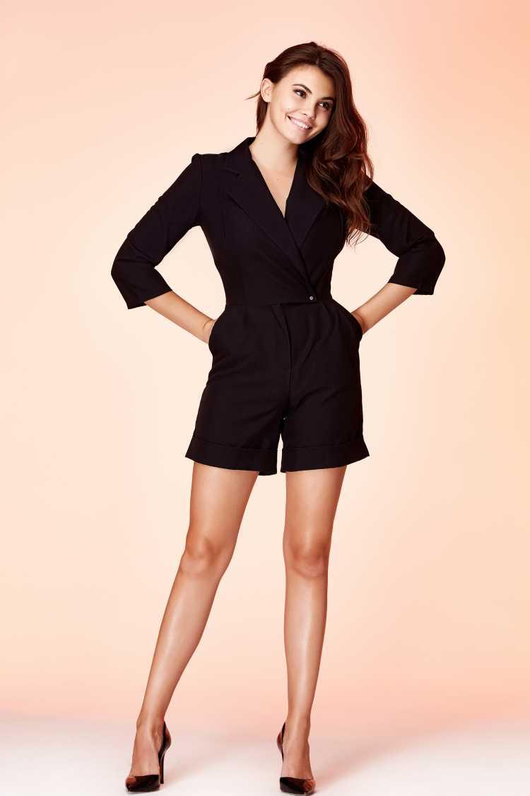 blazer e short de alfaiataria preto