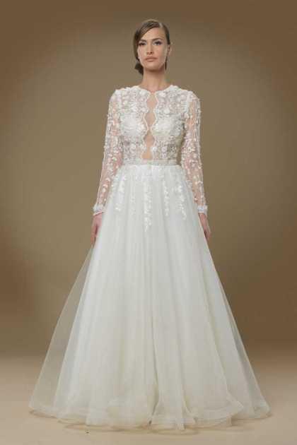 vestido de noiva perfeito em tule com manga longa bordada