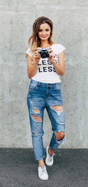 look despojado com calça jeans boyfriend