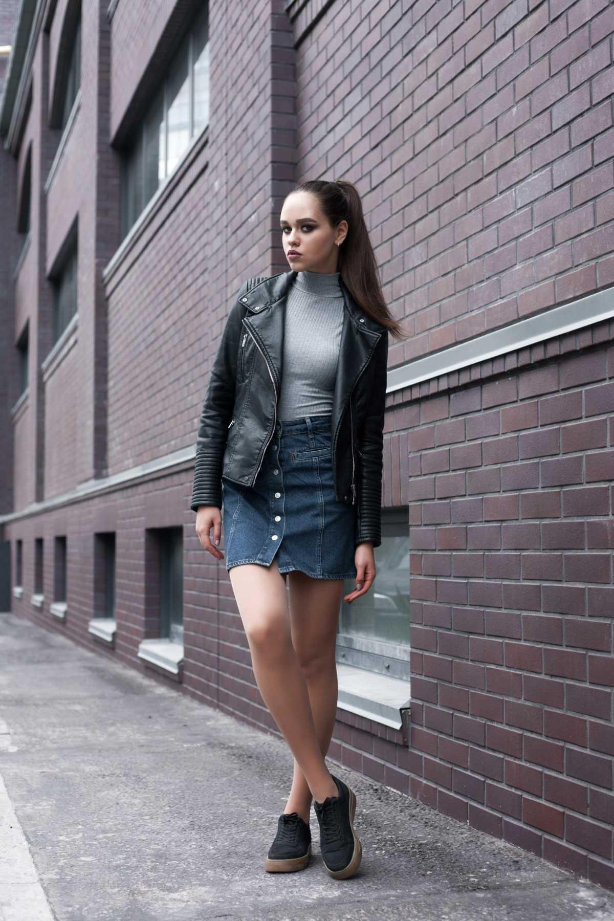 look de inverno com saia jeans