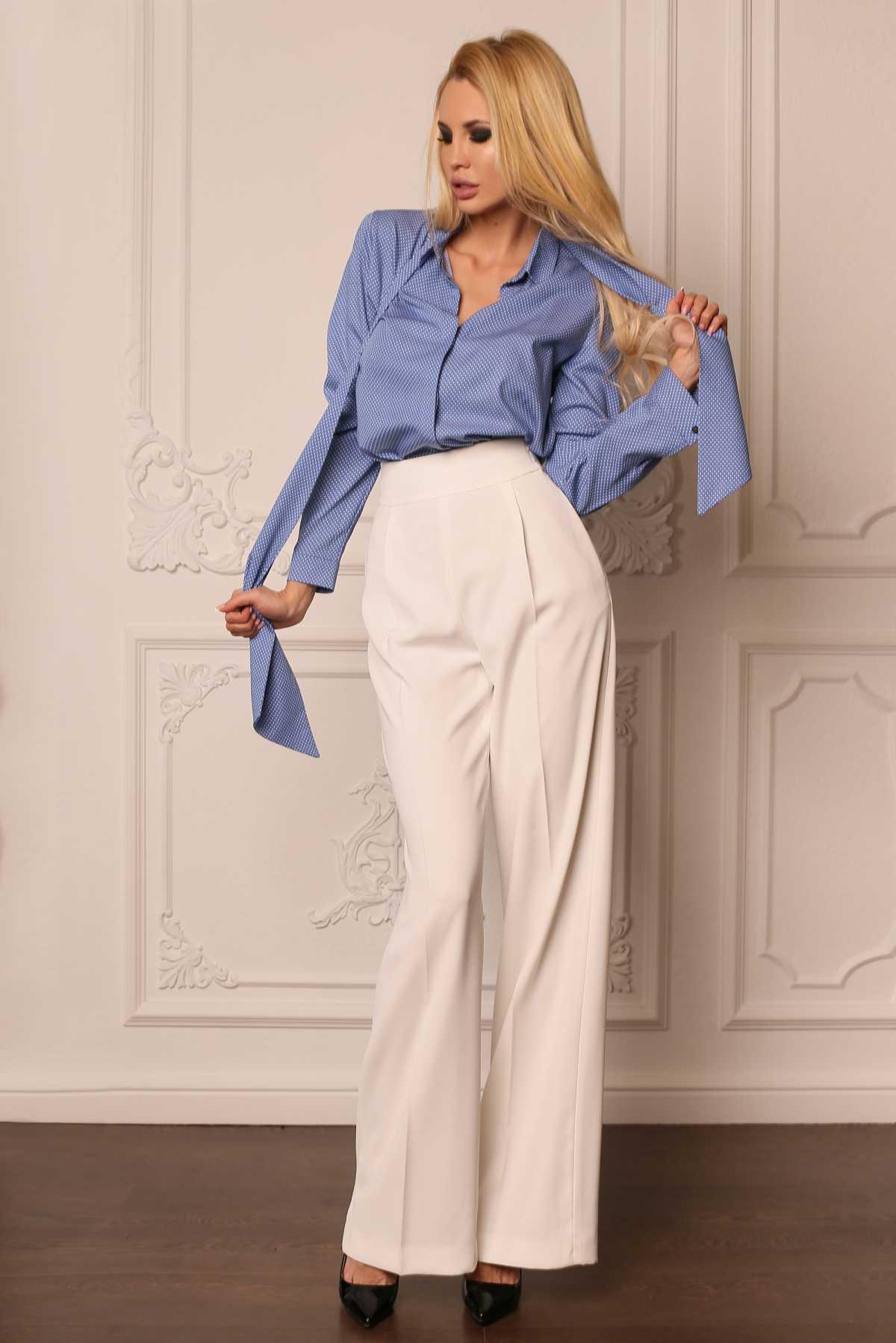 look moderno com calça pantalona branca