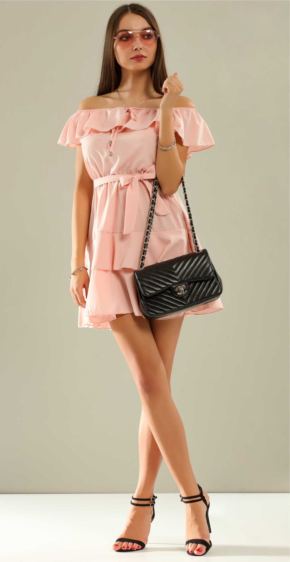 look com vestido rosa