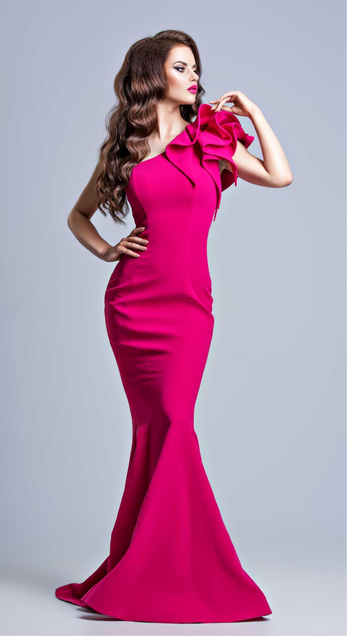 vestido longo para festas rosa choque