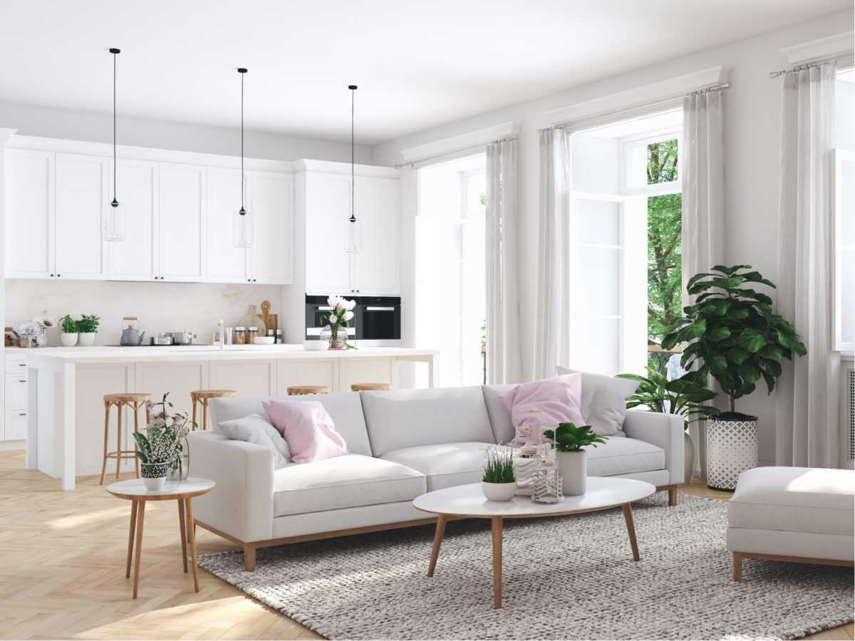 Sala de estar conjugada com cozinha