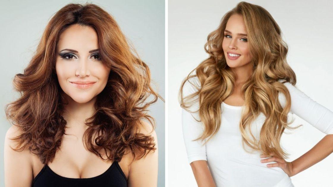Corte de cabelo médio desfiado e cabelo longo com franjão - [Foto 1: shutterstock] [Foto 2: Canva]